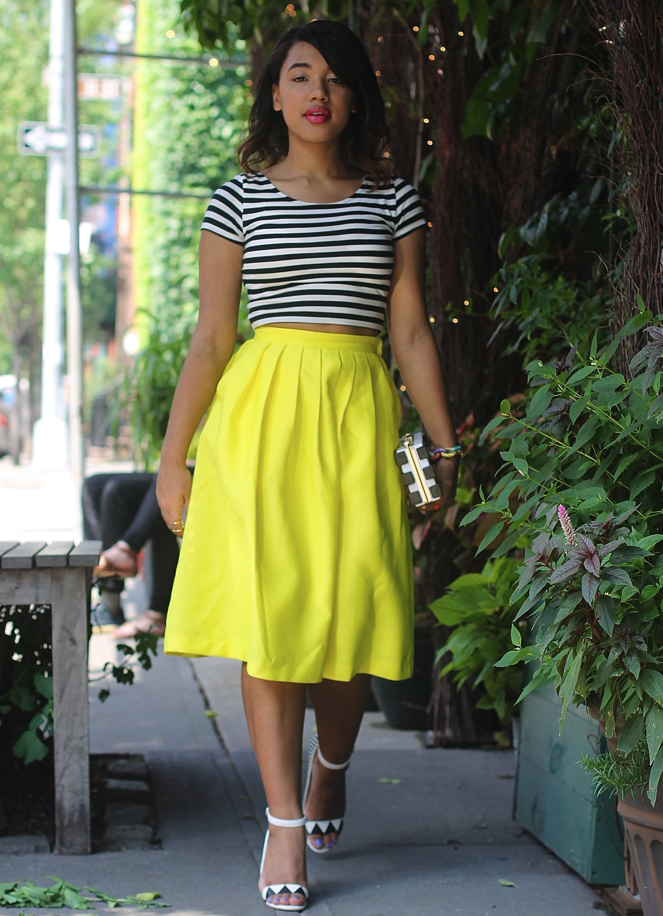 stripe crop top yellow midi skirt yellow midi skirt