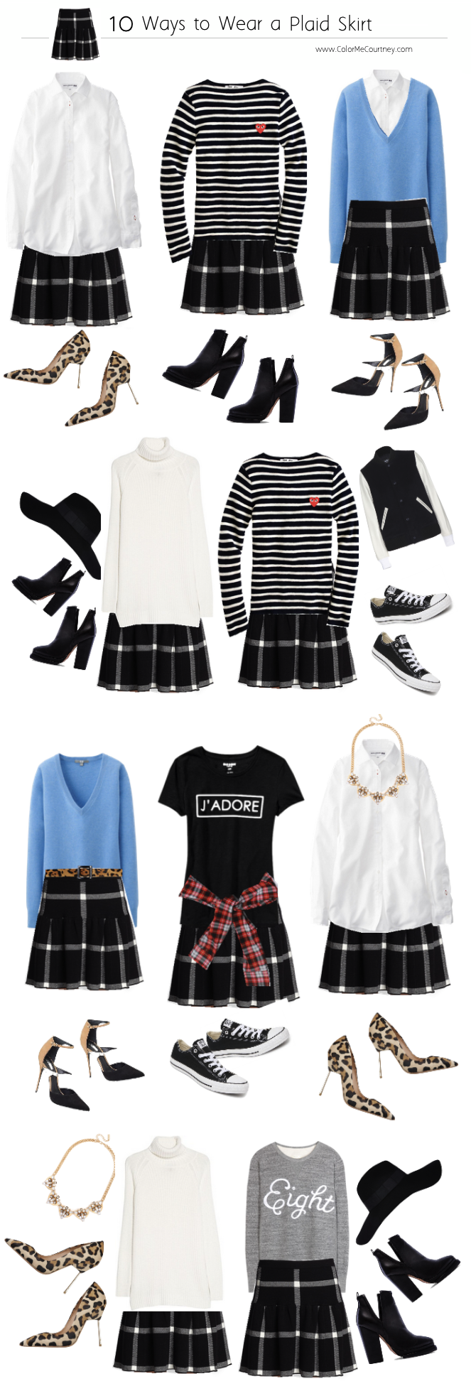 100 outfits create 100 outfits from 10 pieces 10 pieces 100 outfits what to wear for fall fall style guide fall shopping guide what to buy fro fall fall fashion fall fashion guide how to dress for fall what to wear for fall fall fashion guide how to wear a plaid mini skirt 10 ways to wear a plaid mini skirt