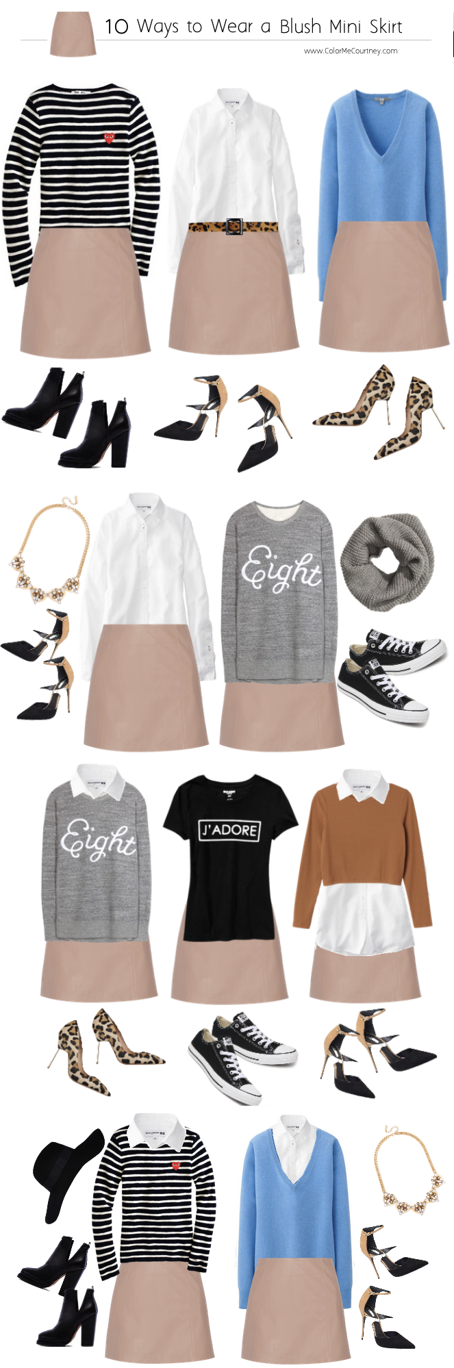 100 outfits create 100 outfits from 10 pieces 10 pieces 100 outfits what to wear for fall fall style guide fall shopping guide what to buy fro fall fall fashion fall fashion guide how to dress for fall what to wear for fall fall fashion guide how to wear a leather mini skirt 10 ways to wear a leather mini skirt