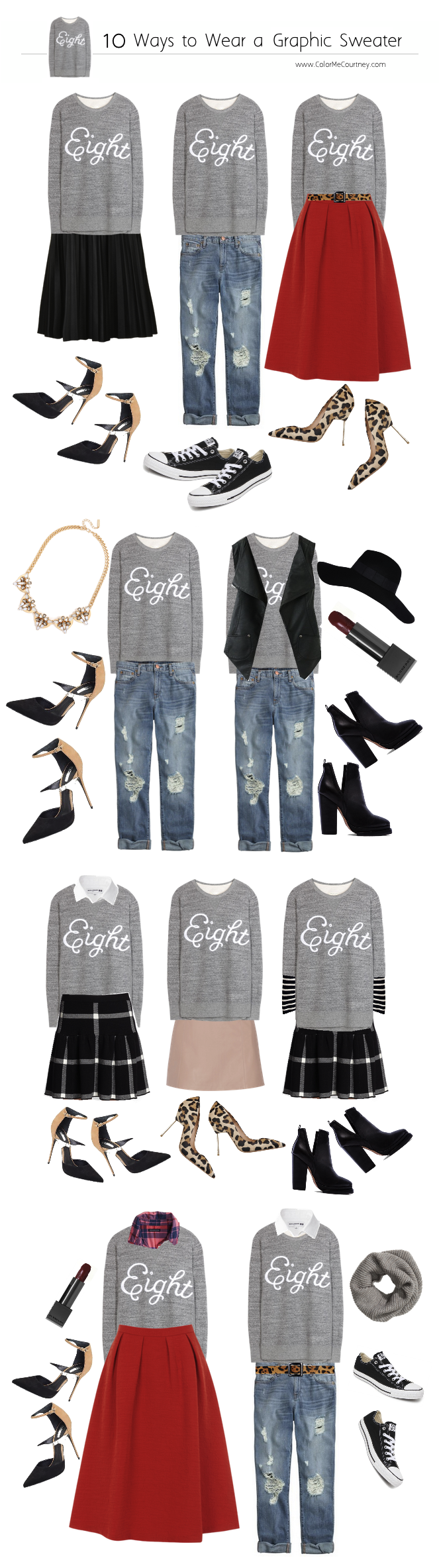 100 outfits create 100 outfits from 10 pieces 10 pieces 100 outfits what to wear for fall fall style guide fall shopping guide what to buy fro fall fall fashion fall fashion guide how to dress for fall what to wear for fall fall fashion guide how to wear a graphic sweater shirt 10 ways to wear a graphic sweatshirt graphic sweater ten ways to wear