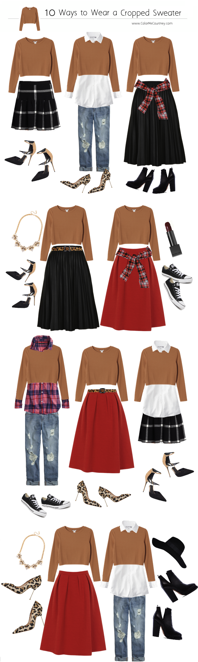 100 outfits create 100 outfits from 10 pieces 10 pieces 100 outfits what to wear for fall fall style guide fall shopping guide what to buy fro fall fall fashion fall fashion guide how to dress for fall what to wear for fall fall fashion guide how to wear a plaid cropped sweater 10 ways to wear a cropped sweater ten ways to wear