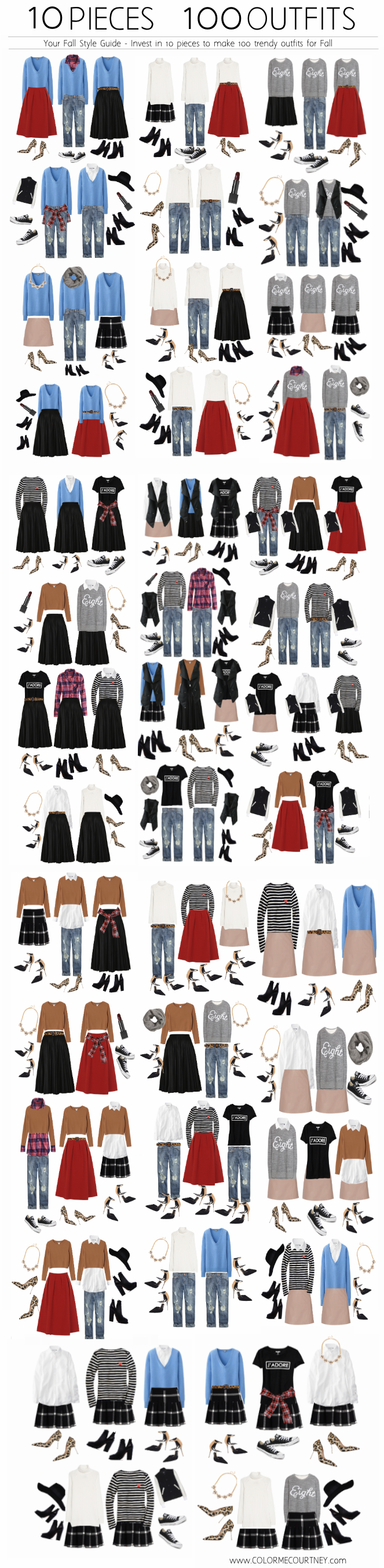 100 outfits create 100 outfits from 10 pieces 10 pieces 100 outfits what to wear for fall fall style guide fall shopping guide what to buy fro fall fall fashion fall fashion guide how to dress for fall what to wear for fall fall fashion guide how to wear 10 ways to wear ten ways to wear color me courtney color me courtney