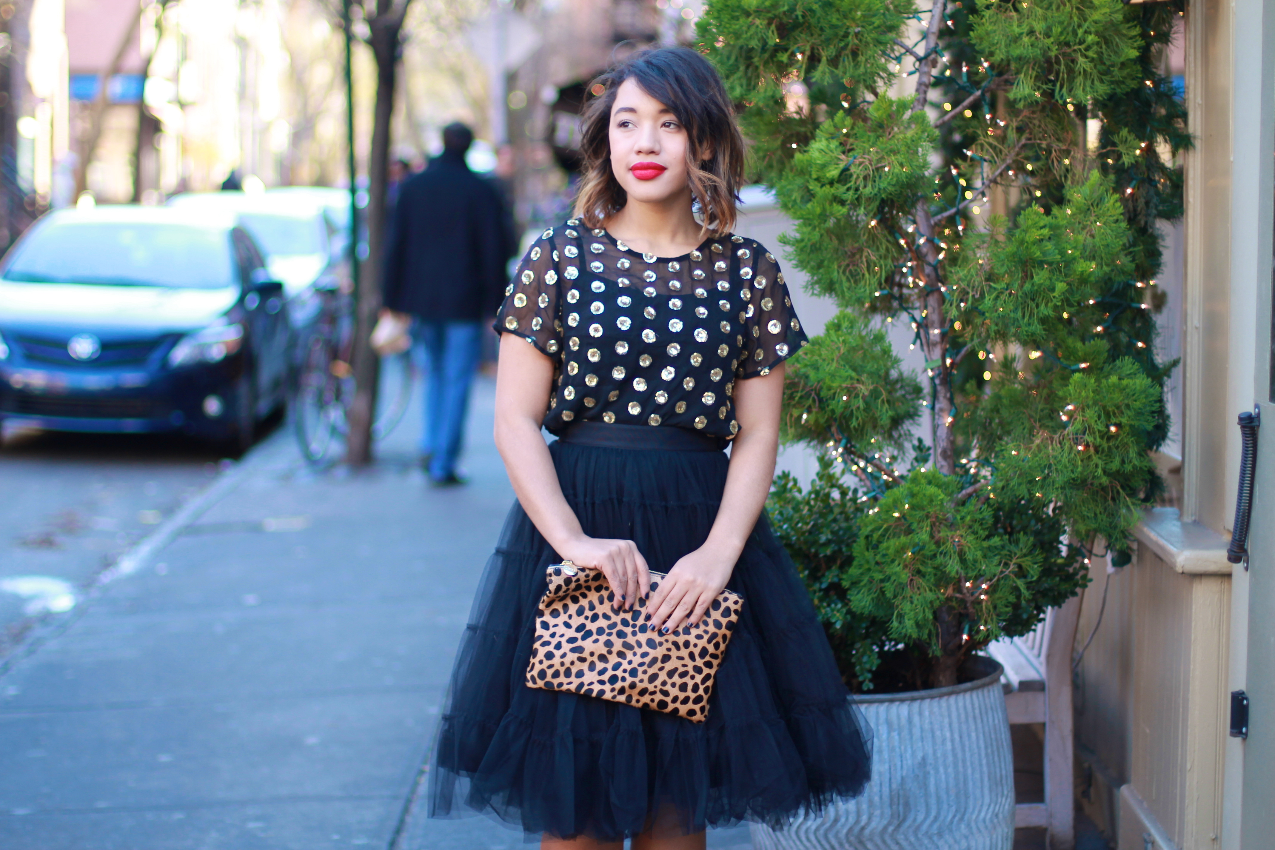 sequins sparkle black tulle skirt black tulle skirt black fashion blogger fashion blogger tulle skirt how to wear a tulle skirt fashion blogger to follower fashion bloggers to folllow black tulle skirt black fashion blogger black tulle skirt sequin polka dot sparkle polka dot holiday style holiday fashion holiday style holiday fashion style holiday outfit christmas eve blog  black and gold new years fashion new years style