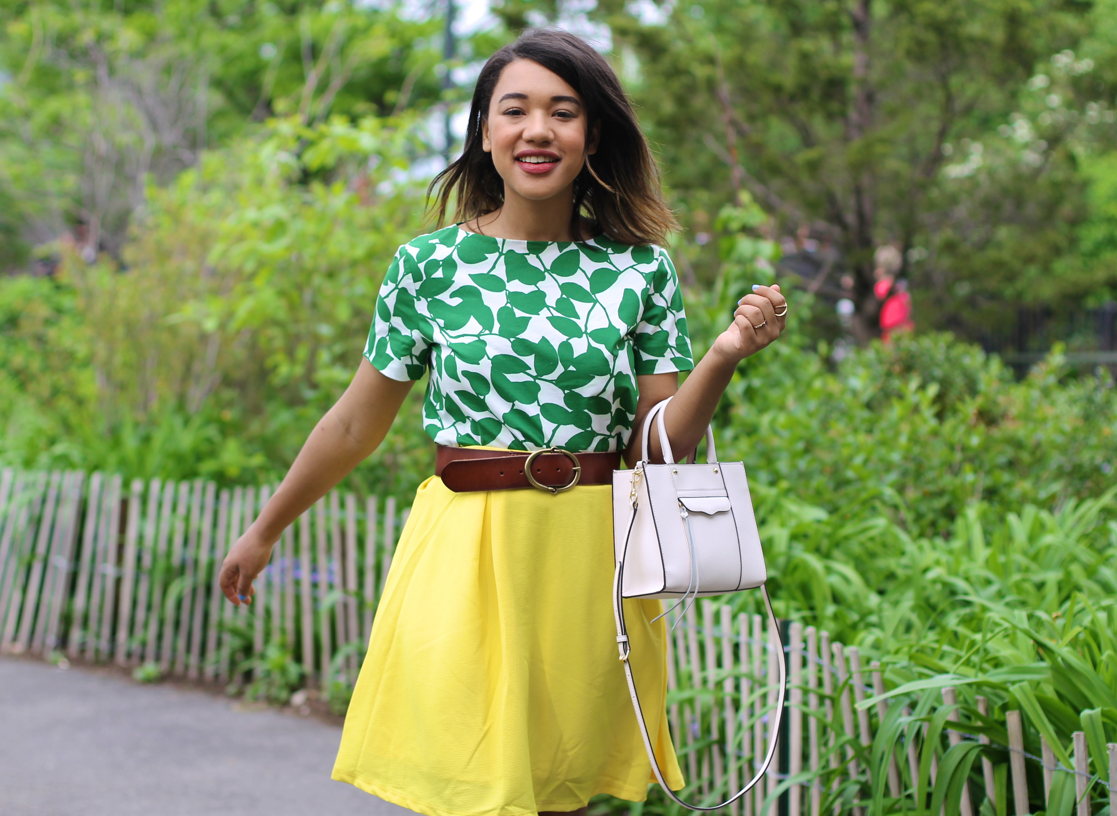 yellow and green green and yellow blair waldorf style look of the day blogger style kate spade blogger kate spade fashion blog kate spade blog kate spade crop top yellow skirt yellow crop top summer style spring style new york style fashion bloggers to follow fashion blogger new york new york fashion blogger