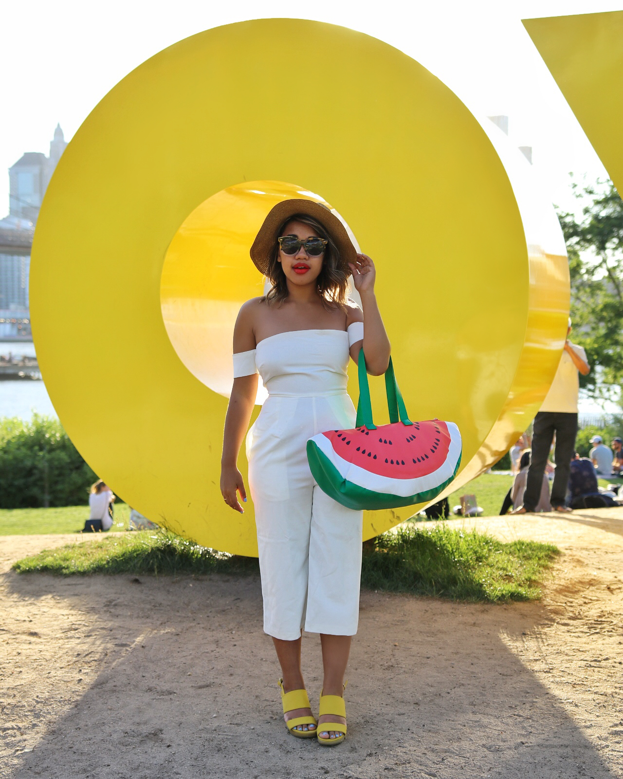 Color Me Courtney - Little White Jumpsuit // Jumpsuit >> http://bit.ly/littlewhitejumpsuit // Heels: http://bit.ly/yellow_sandals // bag: http://bit.ly/watermelonbagg